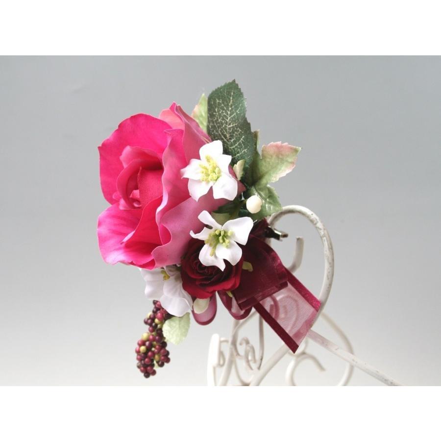 赤ワイン色のバラのコサージュ vertpalette-store 05