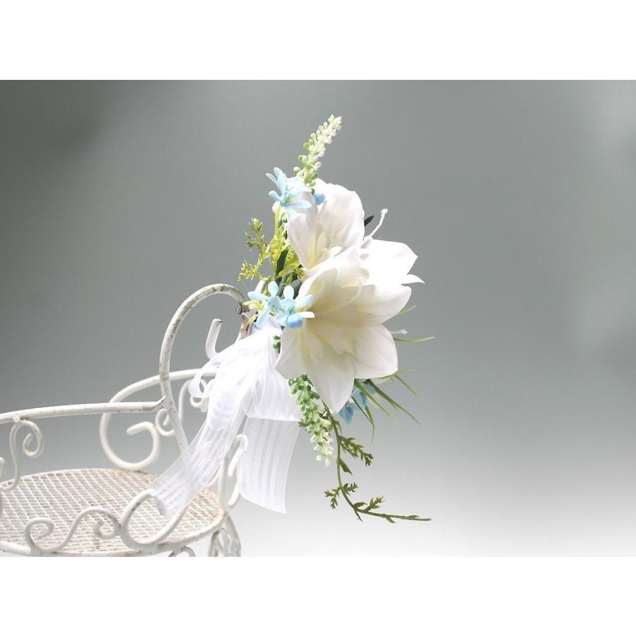 白色のユーチャリスのコサージュ|vertpalette-store|04