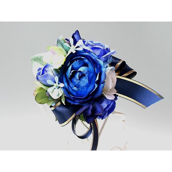 ブルー系を集めたバラのコサージュ|vertpalette-store|02