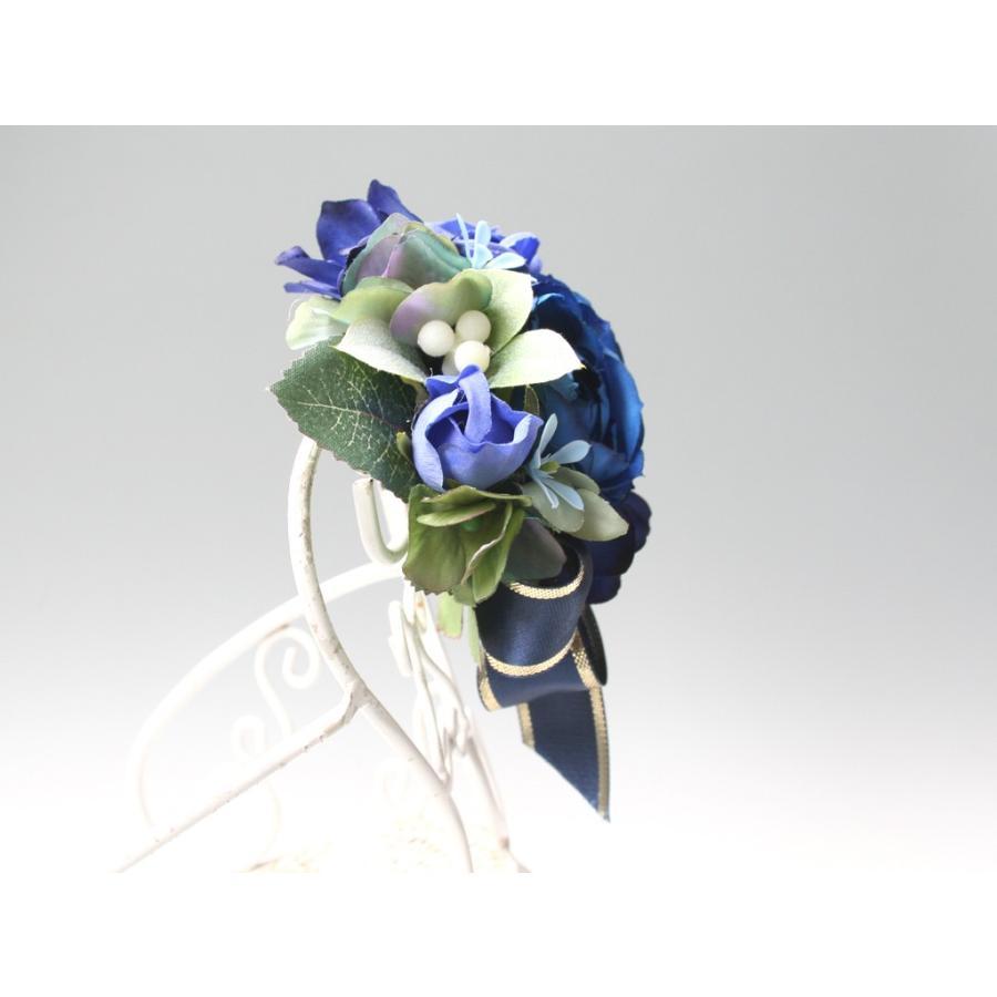 ブルー系を集めたバラのコサージュ|vertpalette-store|03