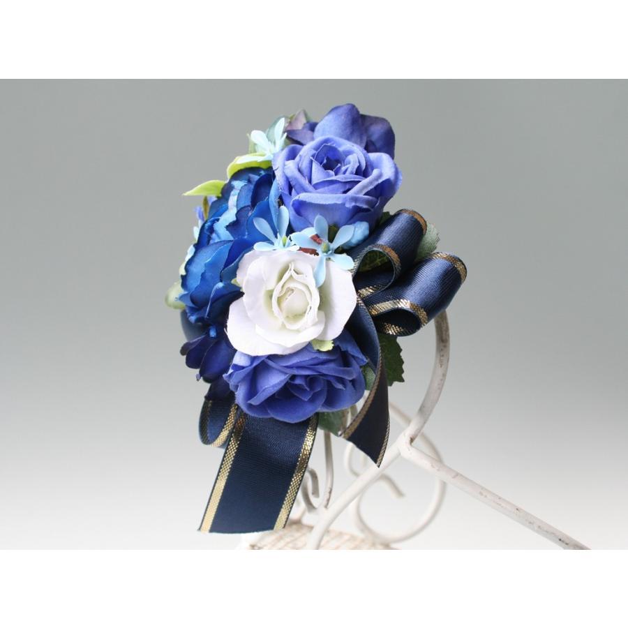 ブルー系を集めたバラのコサージュ|vertpalette-store|04