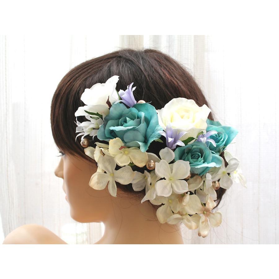 ターコイズバラと白小花のパーツ髪飾り:HA001 vertpalette-store 02