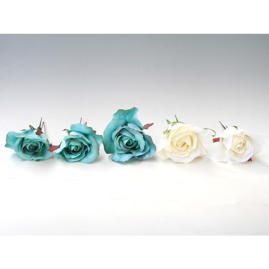 ターコイズバラと白小花のパーツ髪飾り:HA001 vertpalette-store 03