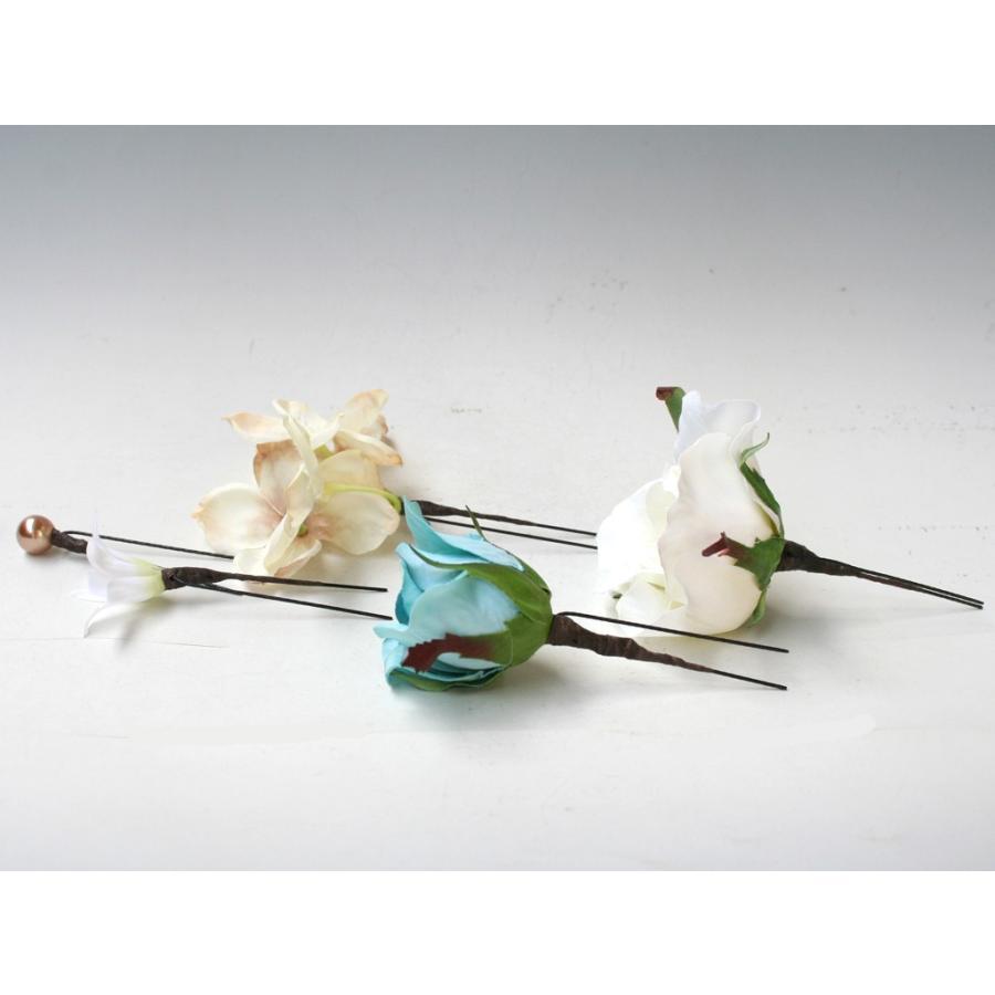 ターコイズバラと白小花のパーツ髪飾り:HA001 vertpalette-store 07