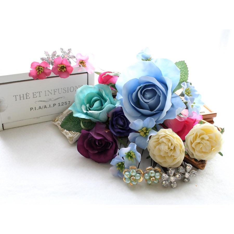 バラとビジューのパーツセット(16パーツ)の髪飾り:HA014|vertpalette-store