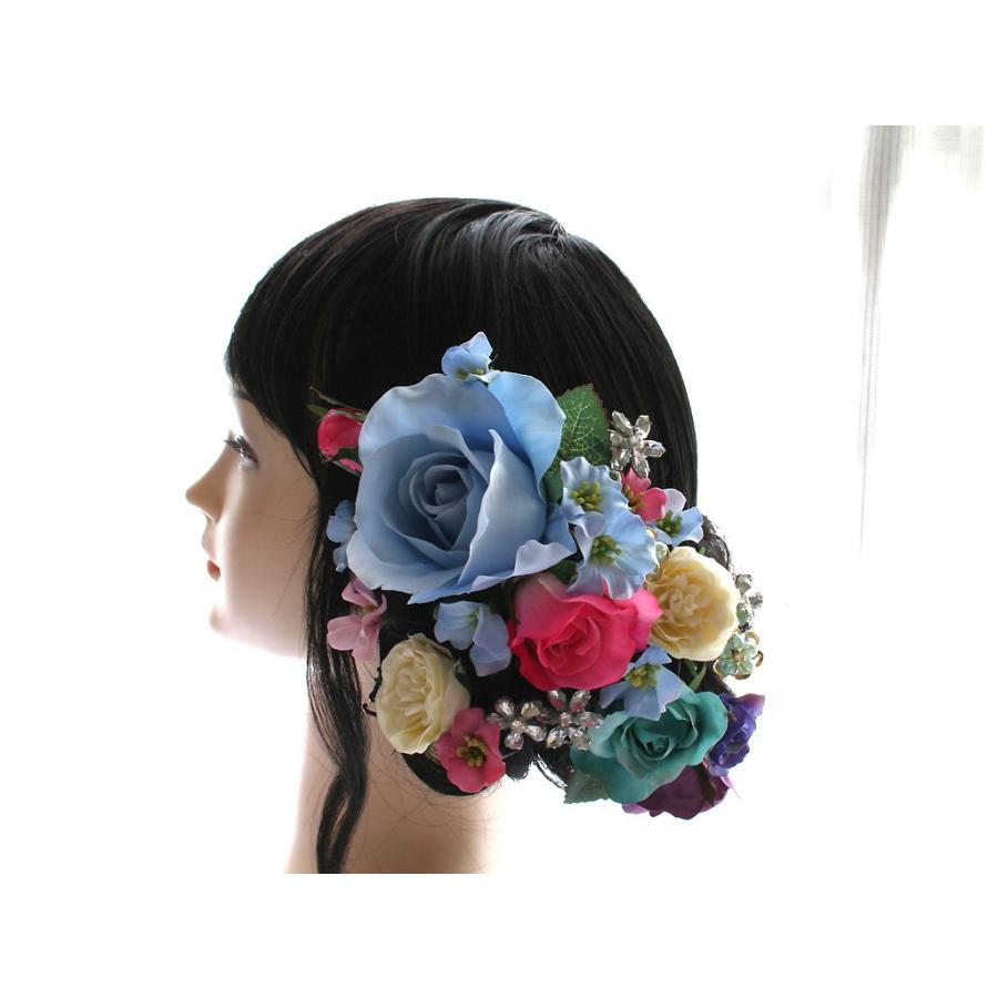 バラとビジューのパーツセット(16パーツ)の髪飾り:HA014|vertpalette-store|02