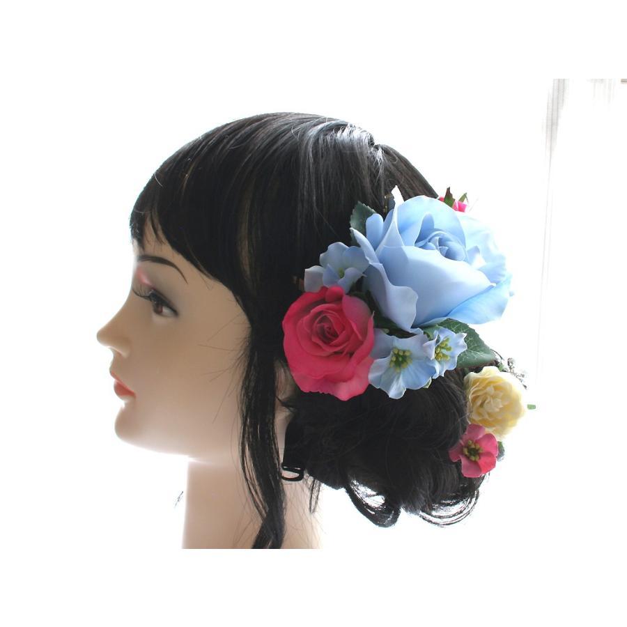 バラとビジューのパーツセット(16パーツ)の髪飾り:HA014|vertpalette-store|03
