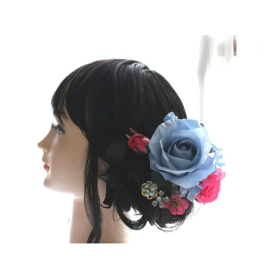 バラとビジューのパーツセット(16パーツ)の髪飾り:HA014|vertpalette-store|04