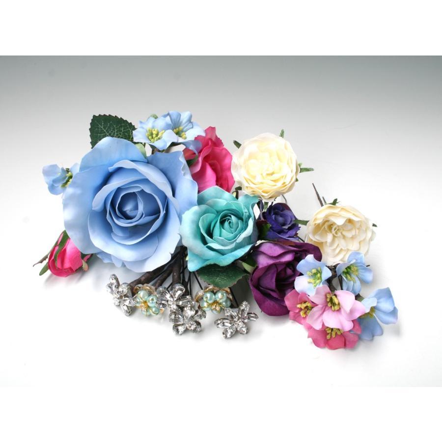 バラとビジューのパーツセット(16パーツ)の髪飾り:HA014|vertpalette-store|05