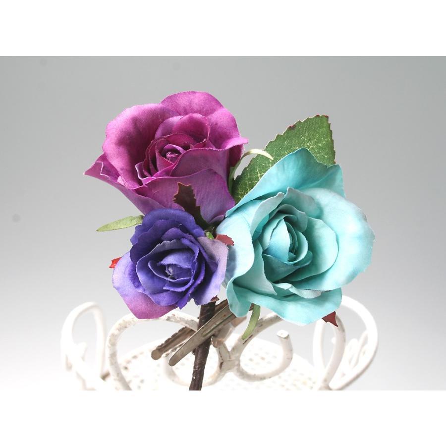 バラとビジューのパーツセット(16パーツ)の髪飾り:HA014|vertpalette-store|06