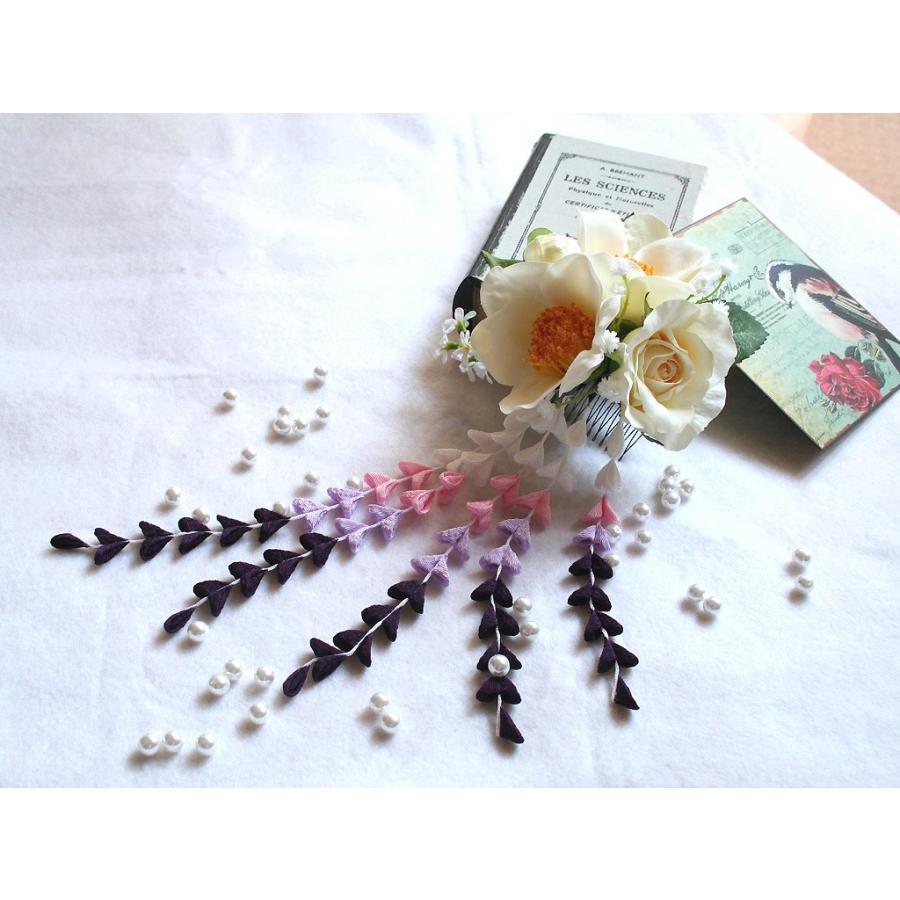 パープル系の下がりが入った粋な髪飾り(コーム):HA034|vertpalette-store