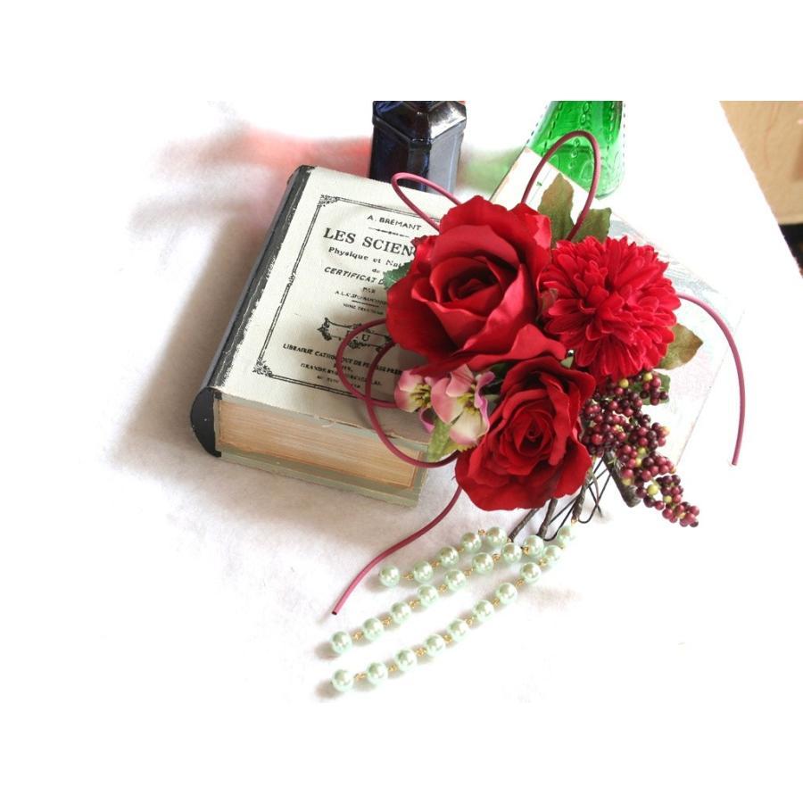 赤系でまとめたシックモダンな髪飾り(Uピン):HA059 vertpalette-store
