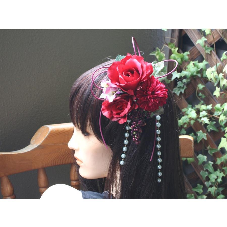 赤系でまとめたシックモダンな髪飾り(Uピン):HA059 vertpalette-store 03