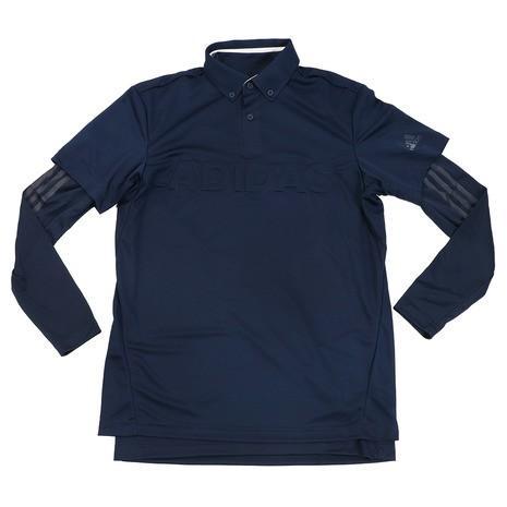 アディダス(adidas) デボスロゴ レイヤード ボタンダウンシャツ FYO93-EH3631NV/NV (Men's)
