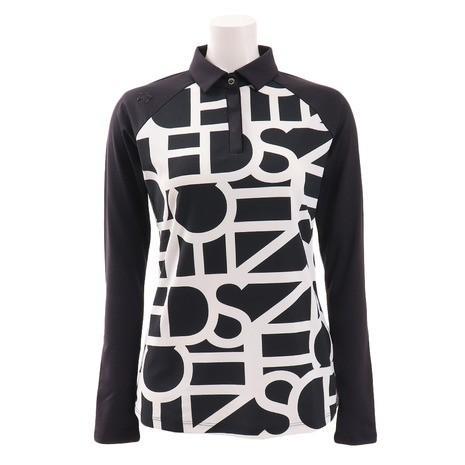 デサントゴルフ(DESCENTEGOLF) ソロテックス鹿の子タイポグラフィプリントシャツ DGWOJB00-BK00 (Lady's)