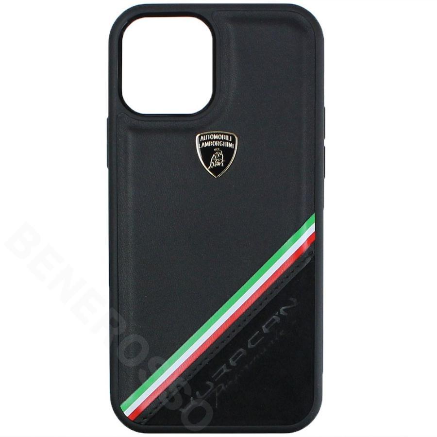 ランボルギーニ iPhone12/12 Pro レザー&アルカンターラ バックカバー ウラカン D11 ブラック LB-TPUPCIP12P-HU/D11-BK victorylap