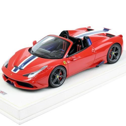 MRコレクション 1/18スケール フェラーリ 458 スペチアーレ A Rosso Corsa-白い/青 stripe FE12B