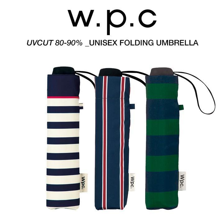 Wpc 折りたたみ傘 軽量 大きい58cm レディース メンズ 男女兼用傘 晴雨兼用傘 ボーダー ストライプ柄 BASIC FOLDING UMBRELLA Wpc ワールドパーティー MSM villagestore