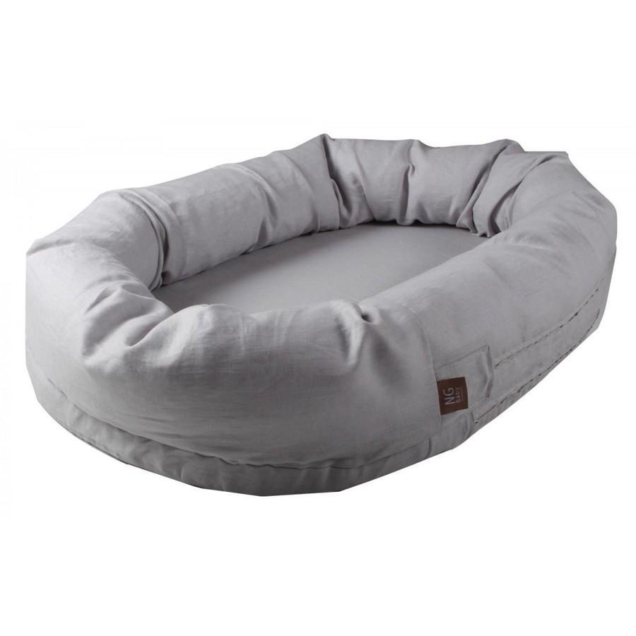 ベビー寝具 スリーププール ベビーベッド お昼寝 スウェーデン製 麻 リネン100% ブルー ライトグレー ピンク NGbaby MOOD|villervalla