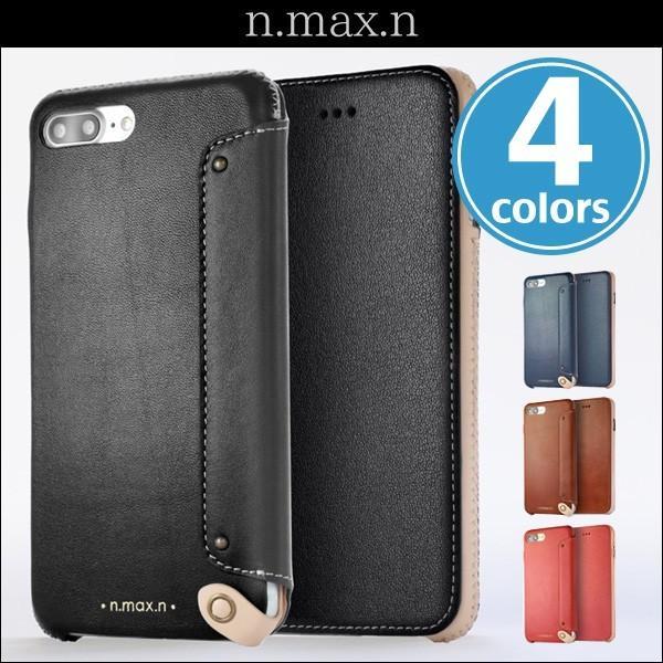 スマホケース iPhone 8 Plus / iPhone 7 Plus 用  n.max.n New Minimalist Series 本革縫製ケース (Book型)タイプ for iPhone 8 Plus / iPhone 7 Plus / 本革 visavis