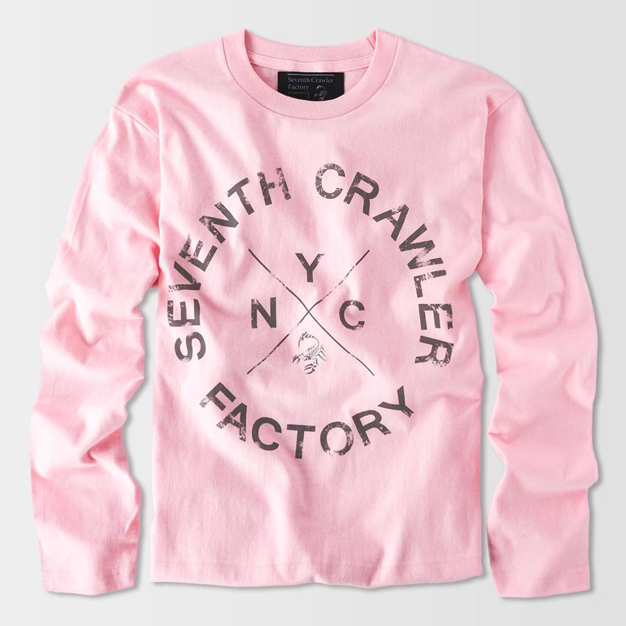 長袖Tシャツ メンズ ロンT ロングTシャツ アメカジ ブランド セブンスクローラー 正規品 ライトピンク|vividstyle|02