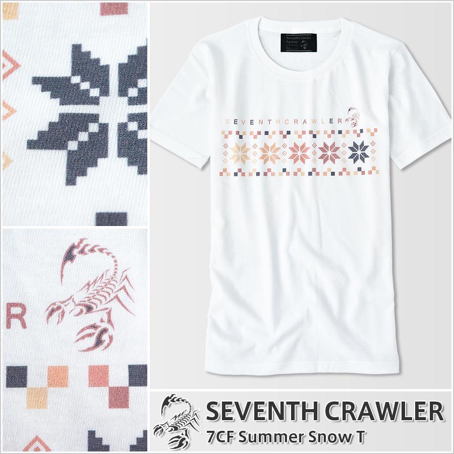 Tシャツ メンズ 半袖 アメカジ ブランド セブンスクローラー 正規品 ホワイト|vividstyle