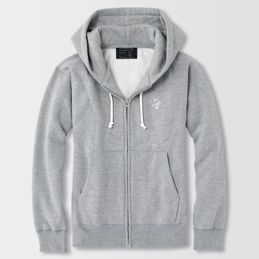 パーカー メンズ ジップアップ 長袖 裏起毛 アメカジ ブランド セブンスクローラー 正規品 グレー|vividstyle|02