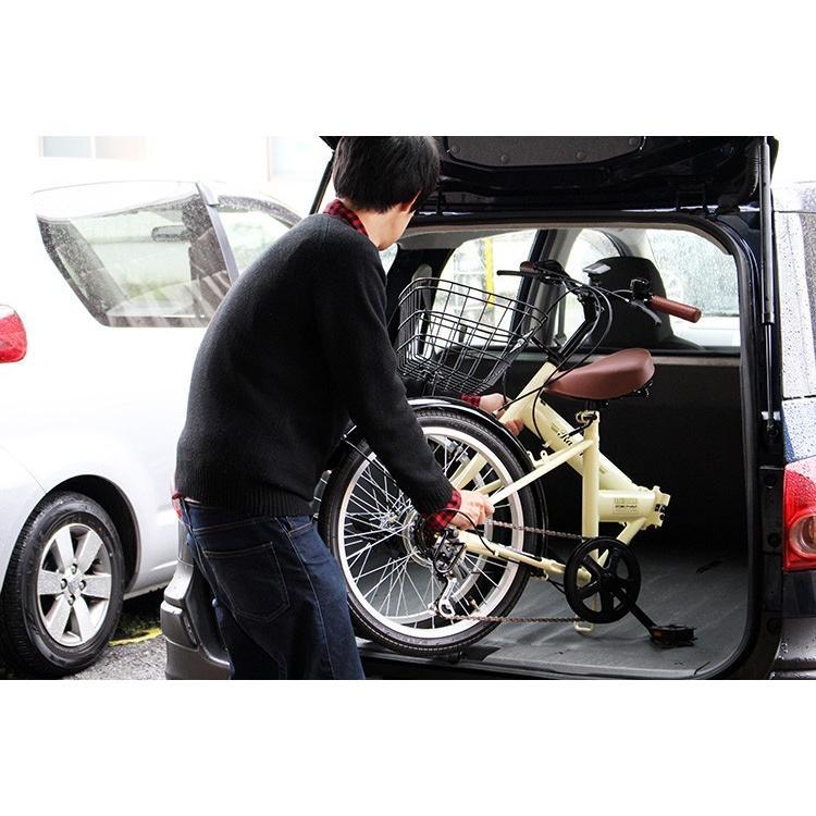 折りたたみ自転車 20インチ シマノ6段変速 カゴ付き LEDライト・カギセット レイチェル Raychell FB-206R voldy 11