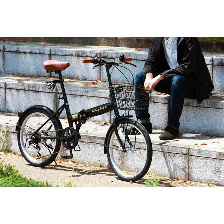 折りたたみ自転車 20インチ シマノ6段変速 カゴ付き LEDライト・カギセット レイチェル Raychell FB-206R voldy 15