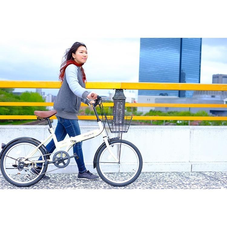 折りたたみ自転車 20インチ シマノ6段変速 カゴ付き LEDライト・カギセット レイチェル Raychell FB-206R voldy 17
