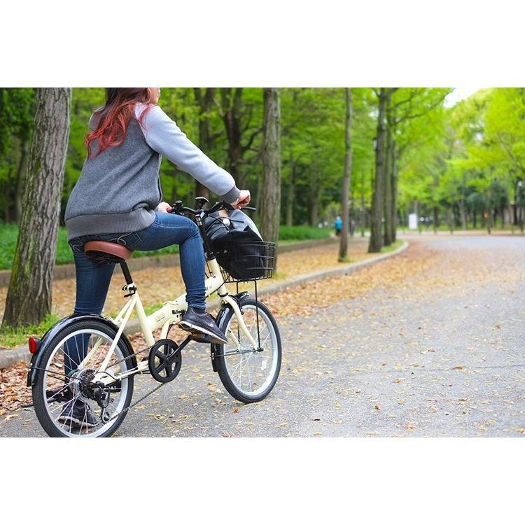 折りたたみ自転車 20インチ シマノ6段変速 カゴ付き LEDライト・カギセット レイチェル Raychell FB-206R voldy 18