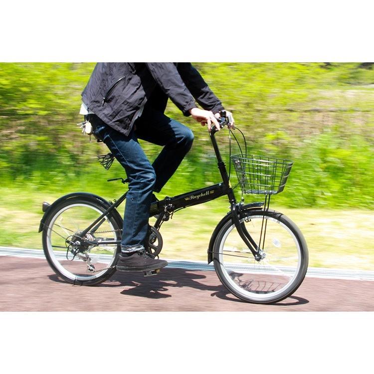 折りたたみ自転車 20インチ シマノ6段変速 カゴ付き LEDライト・カギセット レイチェル Raychell FB-206R voldy 03
