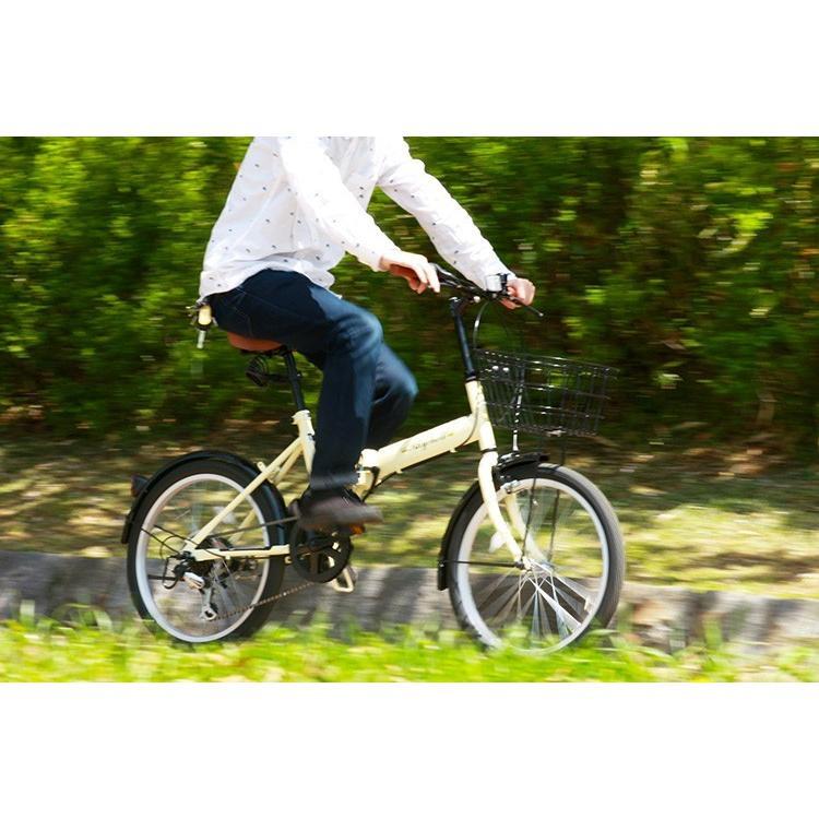 折りたたみ自転車 20インチ シマノ6段変速 カゴ付き LEDライト・カギセット レイチェル Raychell FB-206R voldy 05