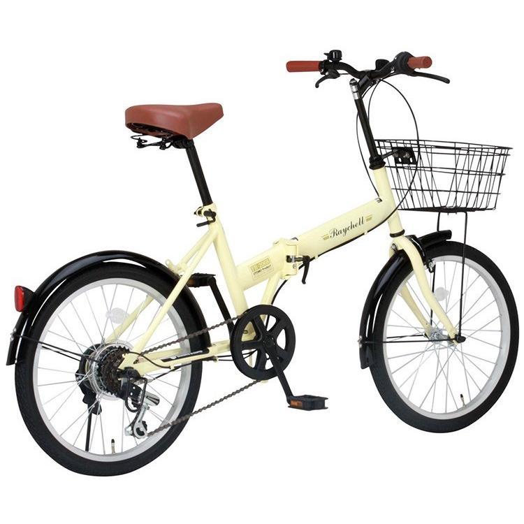 折りたたみ自転車 20インチ シマノ6段変速 カゴ付き LEDライト・カギセット レイチェル Raychell FB-206R voldy 10