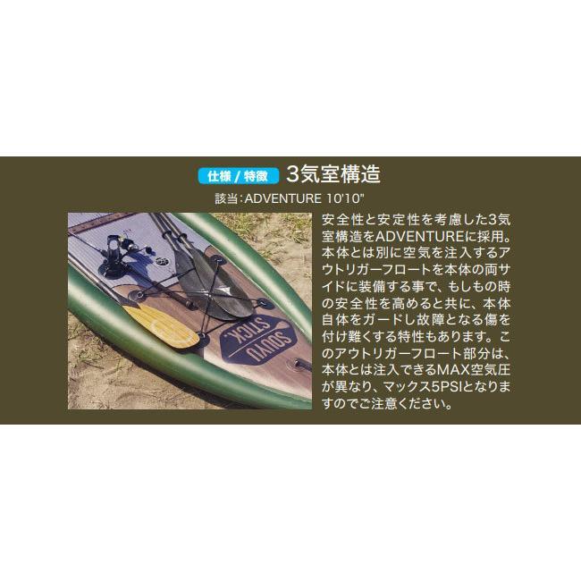 SOUYU STICK 漕遊 2021 ソーユースティック ADVENTURE 10'10'' アドベンチャー サップ SUP インフレータブル スタンドアップパドル 釣り 船外機取り付け可能|voltage|03