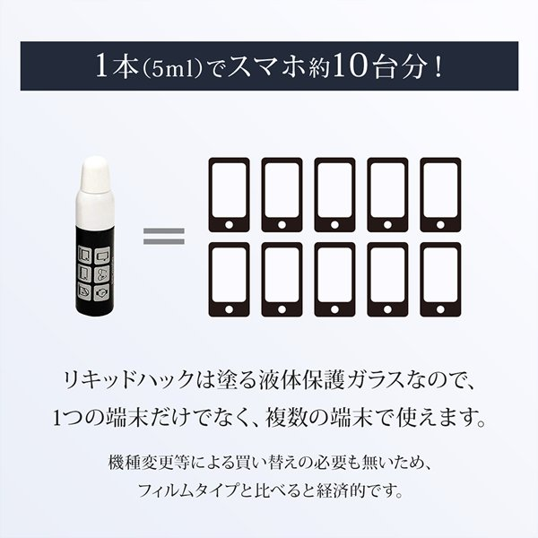 保護フィルム iPhone ガラスフィルム 液体ガラスフィルム 液体保護フィルム リキッドハック LIQUID_hack 5ml 塗る 日本製 硬度10H 強力 vt-web 10