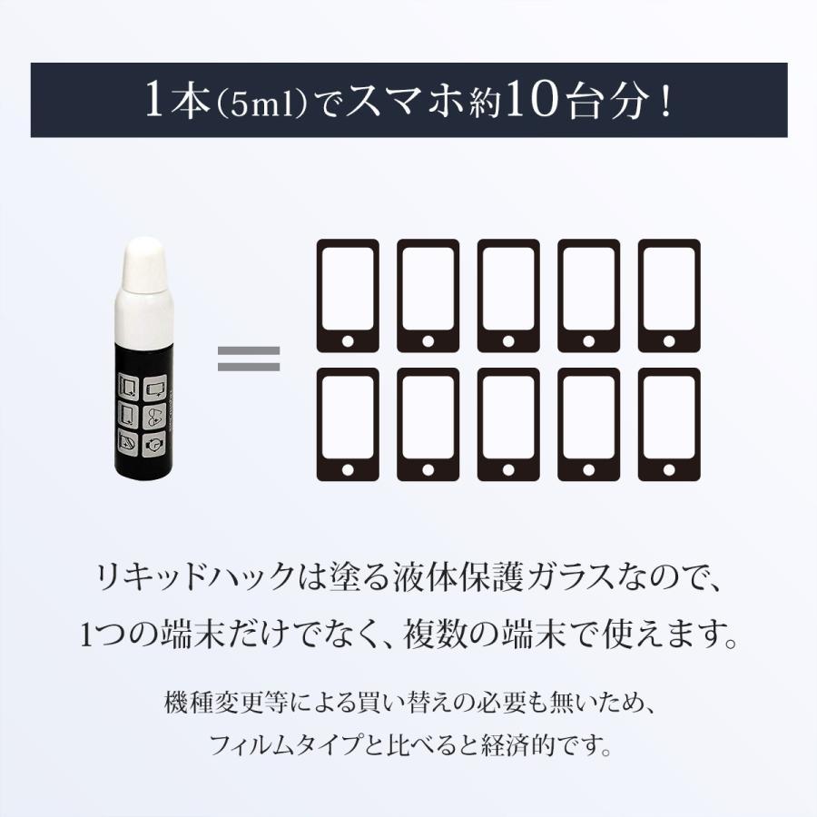 保護フィルム iPhone 12 13 ガラスフィルム 液体保護フィルム リキッドハック ブルーライトカット LIQUID_hack 5ml 日本製 硬度10H 強力|vt-web|07