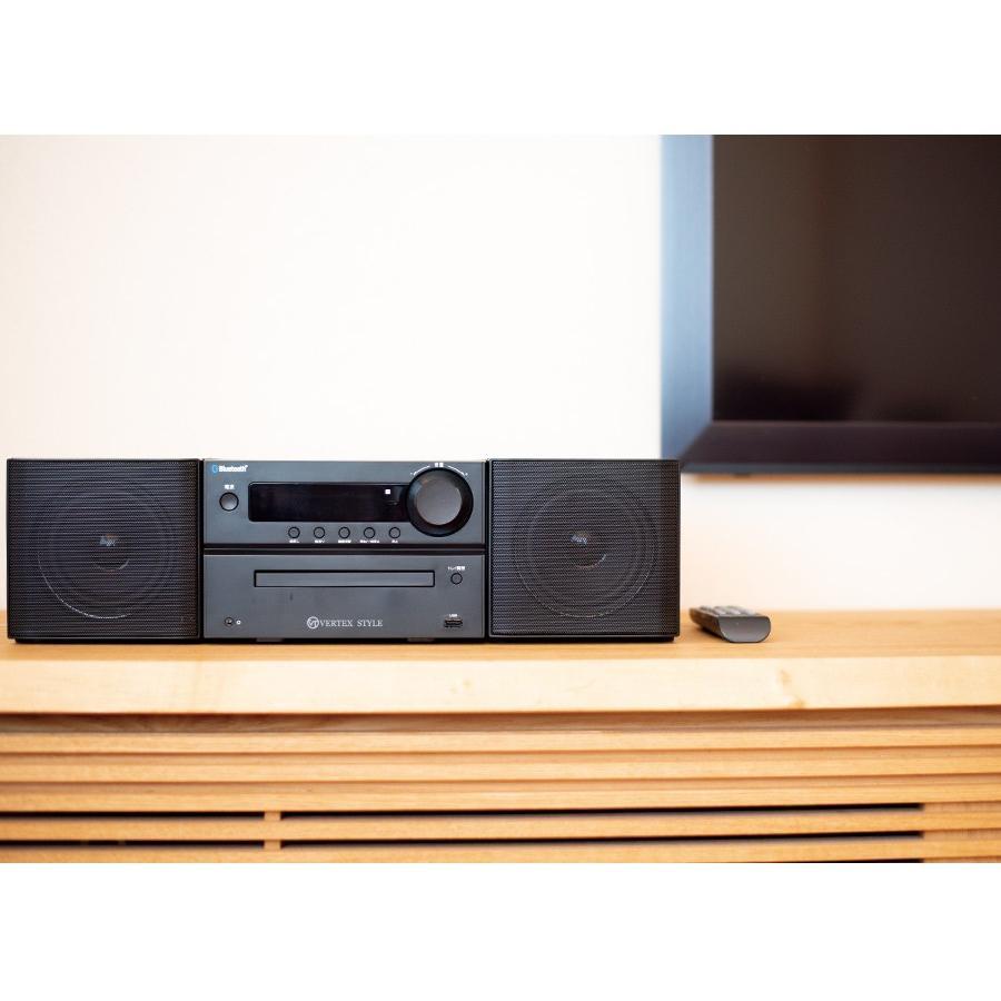 マイクロシステムコンポ with Bluetooth CDプレーヤー コンパクト CD/USB再生 FMラジオ ワイドFM対応 MP3録音 VERTEX ヴァーテックス BTMC-V002 RSL|vt-web|08