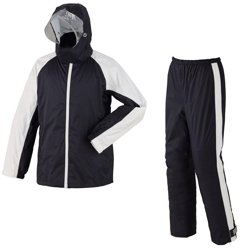 スミクラ 防水透湿 レインスーツ ネイビー S (145〜155cm) 全2色 7サイズ 収納袋付き 2層レイヤー