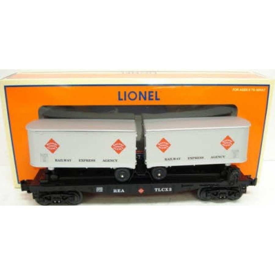 Lionel 6-26366 Railway Express Agency REA flat car w/ 2 removeable trailers 027