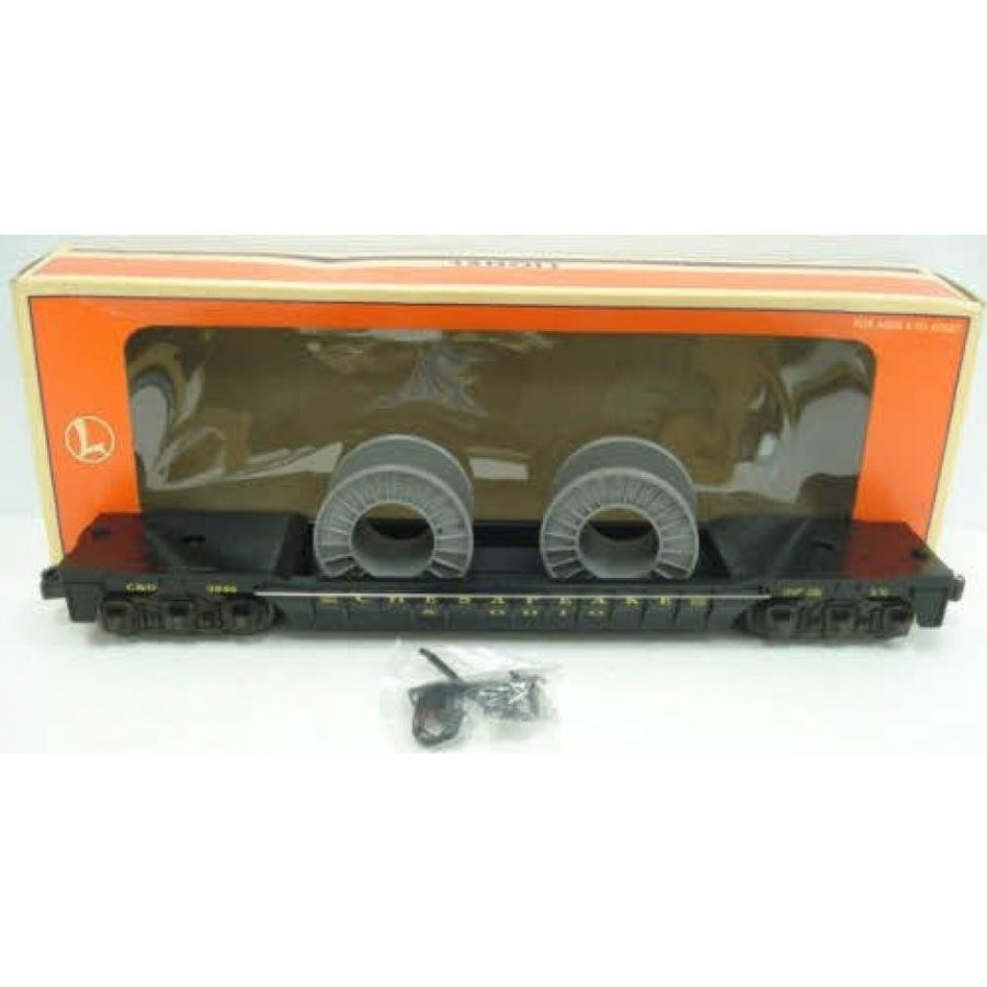 Lionel 16946 Chesapeake & Ohio F9 Well Car with 2 Cable Reels O Gauge Train
