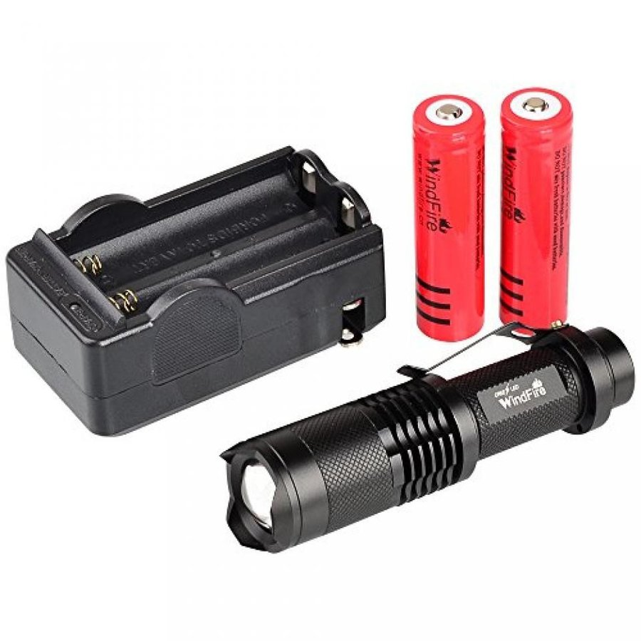 WindFire CREE XML-T6 U2 LED 1800 Lumens ZOOMABLE 5 Modes Flashlight Torch Lamp Mini 18650 Flashlight Torch (Black Flashlight with 2 Batteries and