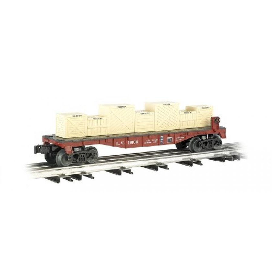 Williams by Bachmann Flat Car with Crates Lehigh Valley - O Scale
