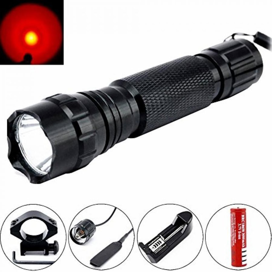 Comunite 501B XM-L T6 600 Lumens Bright LED 赤 赤 赤 Light Torch Lamp+ Gun Mount+ Remote Pressure Switch+ 1 x 18650 Rechargeable Battery+ Battery Charger 1e3