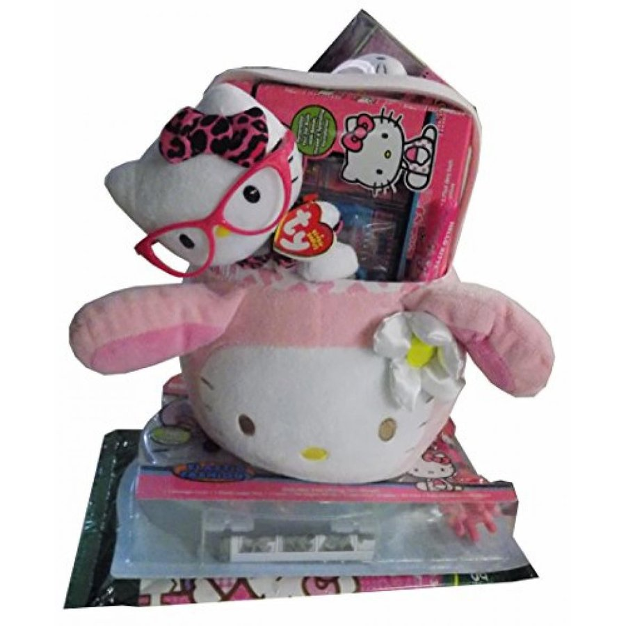 Hello Kitty ピンク Easter Bunny Plush Easter Basket with Hello Kitty Mini Dream Lite Pillow Pet, Ear Buds, Ty Nerd, Color Wonders and More