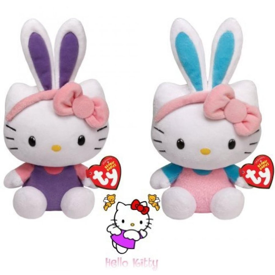 Ty Beanie Babies Hello Kitty -Turquoise and 紫の Ears set of 2 Plush Easter Toys by Ty Beanie Babies