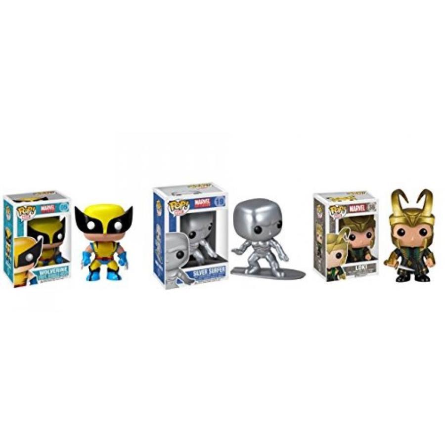 Marvel Funko Pop B0bble Heads Set : Wolverine, 銀 Surfer and Helmet Loki