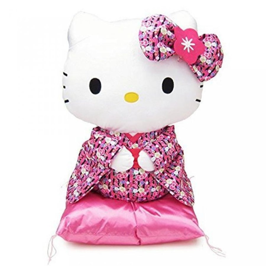 Sanrio cute Japan Hello Kitty Sitting type stuffed L size sitting height 45cm 黒 ピンク