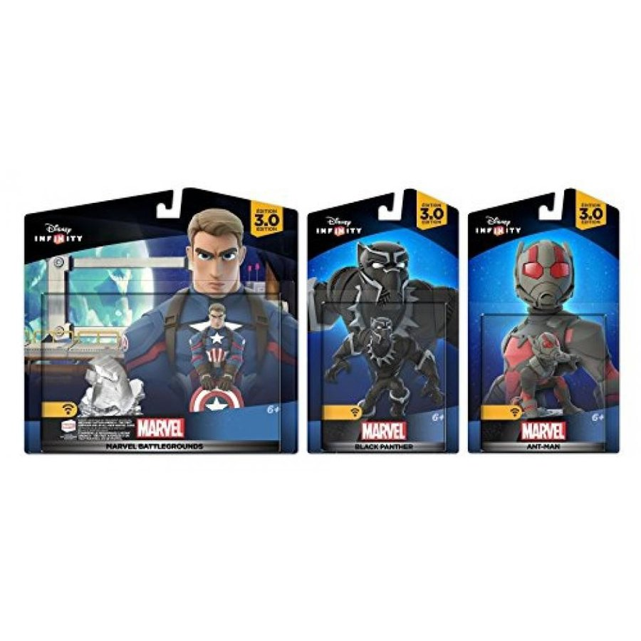 Disney Infinity 3.0 Marvel Battlegrounds: Captain America + 黒 Panther + Ant-man - Civil war Set NEW