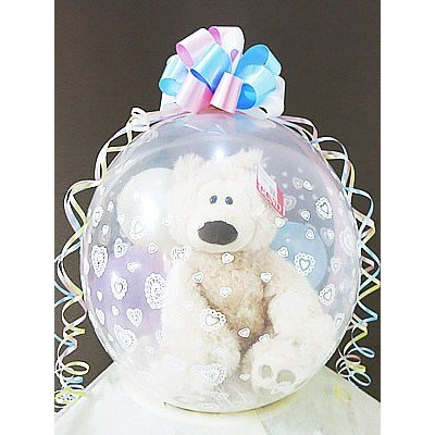 結婚式 バルーン電報 出産祝い 誕生日 プレゼント ぬいぐるみバルーンラッピング:フィルビンバニラベアM(GUND ガンド)